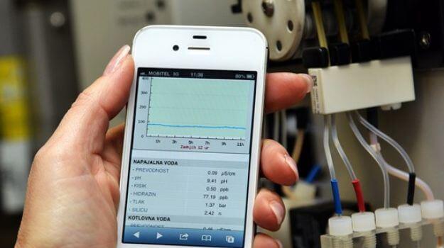 Uporabo mobilnega telefona za delo s tehnološkimi vodami.