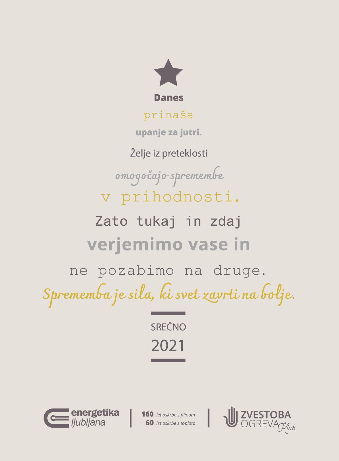 Voščilnica Energetike Ljubljana za leto 2021